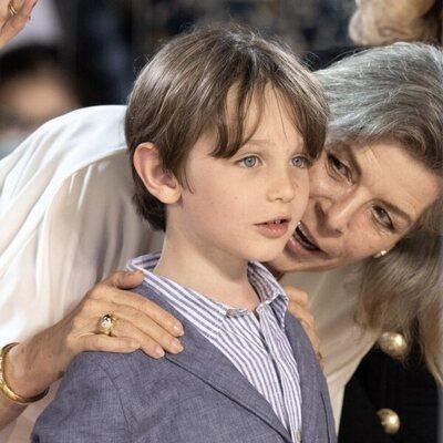 Carolina de Mónaco habla con su nieto Raphaël Elmaleh en el Concurso de Saltos de Monte-Carlo 2021