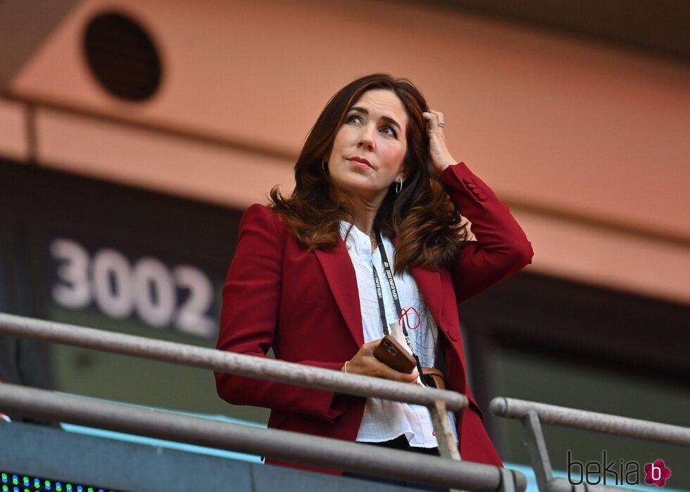 Mary de Dinamarca en el partido entre Inglaterra y Dinamarca en la semifinal de la Eurocopa 2020