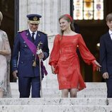 Felipe y Matilde de Bélgica con sus hijos Isabel y Emmanuel de Bélgica en el Día Nacional de Bélgica 2021