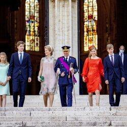 Los Reyes Felipe y Matilde de Bélgica y sus hijos Isabel, Gabriel, Emmanuel y Leonor de Bélgica en el Día Nacional de Bélgica 2021