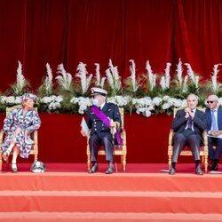 James O'Hare, Delphine de Bélgica, Laurent de Bélgica, Lorenzo de Bélgica y Astrid de Bélgica en el Día Nacional de Bélgica 2021