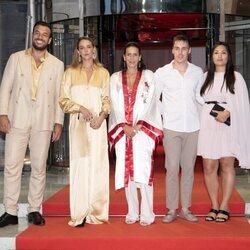Estefanía de Mónaco con Pauline y Louis Ducruet y sus respectivas parejas