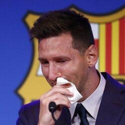 Leo Messi, muy emocionado de su despedida del Barça