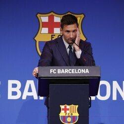 Leo Messi se despide del Barça en una rueda de prensa