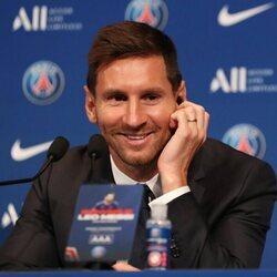 Leo Messi en su presentación como nuevo fichaje del PSG