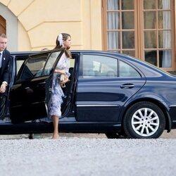 Magdalena de Suecia a su llegada al bautizo de Julian de Suecia