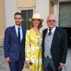 Frederik Sachs, Mafalda de Hesse y Rolf Sachs en la boda de Maria Anunciata de Liechtenstein y Emanuele Musini