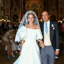 María Anunciata de Liechtenstein y Emanuele Musini el día en su boda