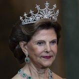 La Reina Silvia con la Tiara de las Nueve Puntas en la cena del gala al Presidente de Alemania y su esposa