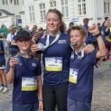 Josefina, Isabel y Vicente de Dinamarca tras participar en la Royal Run