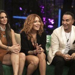 Cynthia Martínez, Sofía Cristo, Luis Rollán y Jesús Oviedo (Gemeliers) durante la segunda gala de 'Secret Story'
