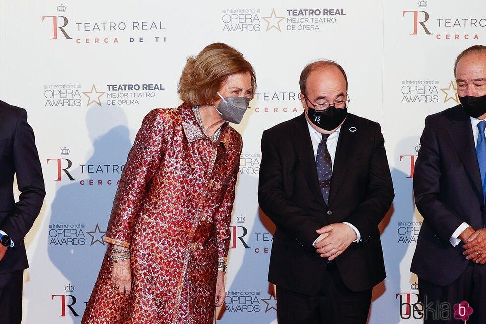 La Reina Sofía y Miquel Iceta en la inauguración de la temporada 2021/2022 del Teatro Real