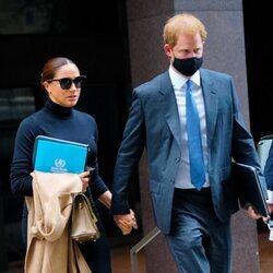 El Príncipe Harry y Meghan tras participar en una reunión en Nueva York