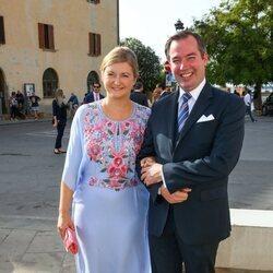 Guillermo y Stéphanie de Luxemburgo en la boda de Marie Astrid de Liechtenstein y Ralph Worthington