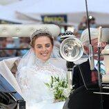 Lady Charlotte Lindesay-Bethune en su boda con Jaime de Borbón-Dos Sicilias