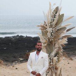 Omar Sánchez esperando a Anabel Pantoja el día de su boda