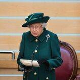 La Reina Isabel da su discurso en la sesión inaugural del Parlamento en Escocia