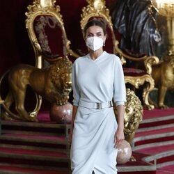 La Reina Letizia en la recepción en el Palacio Real del Día de la Hispanidad 2021
