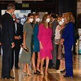 Los Reyes Felipe y Letizia, la Princesa Leonor y la Infanta Sofía a su llegada al Concierto Premios Princesa de Asturias 2021