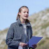 La Princesa Leonor dando un discurso durante la visita a Santa María del Puerto, Pueblo Ejemplar 2021