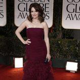 Tina Fey en la alfombra roja de los Globos de Oro 2012