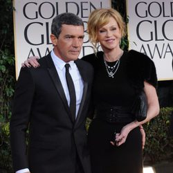 Antonio Banderas y Melanie Griffith en los Globos de Oro 2012