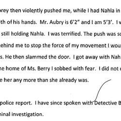 Documento de la agresión de Gabriel Aubry