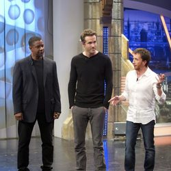 Denzel Washington, Ryan Reynolds y Pablo Motos en 'El Hormiguero'