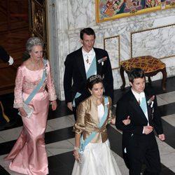 Federico, Mary, Joaquín y Benedicta de Dinamarca en la cena de gala al Cuerpo Diplomático