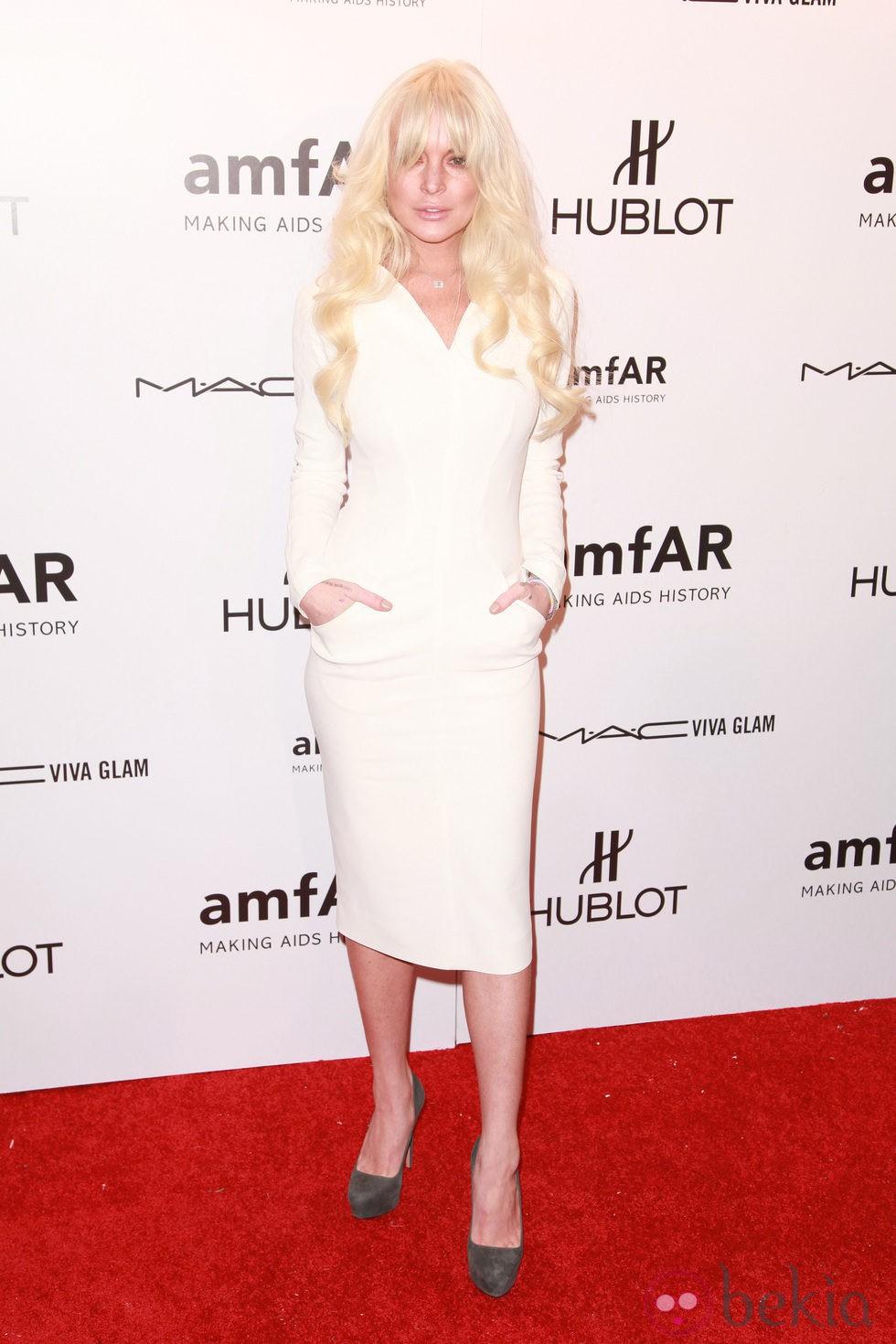 Lindsay Lohan en la gala amfAR de Nueva York