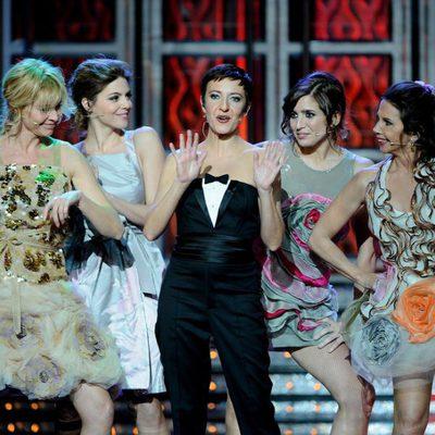 Belén Rueda, Manuela Velasco, Eva Hache, Lucía Jiménez y Victoria Abril en los Goya 2012