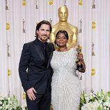 Christian Bale y Octavia Spencer en los Oscars 2012