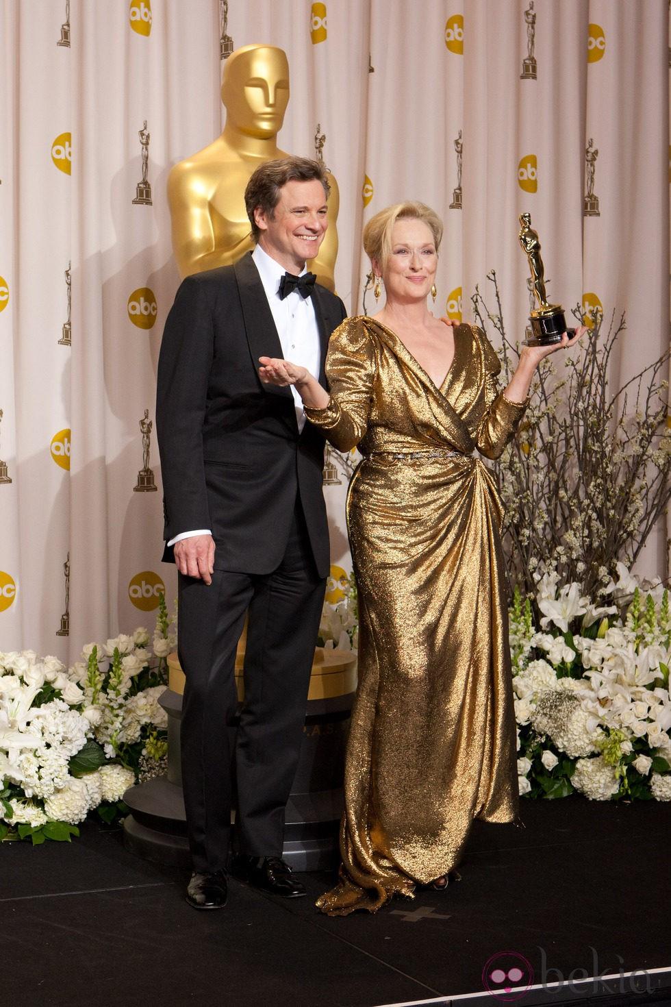 Colin Firth y Meryl Streep en los Oscars 2012