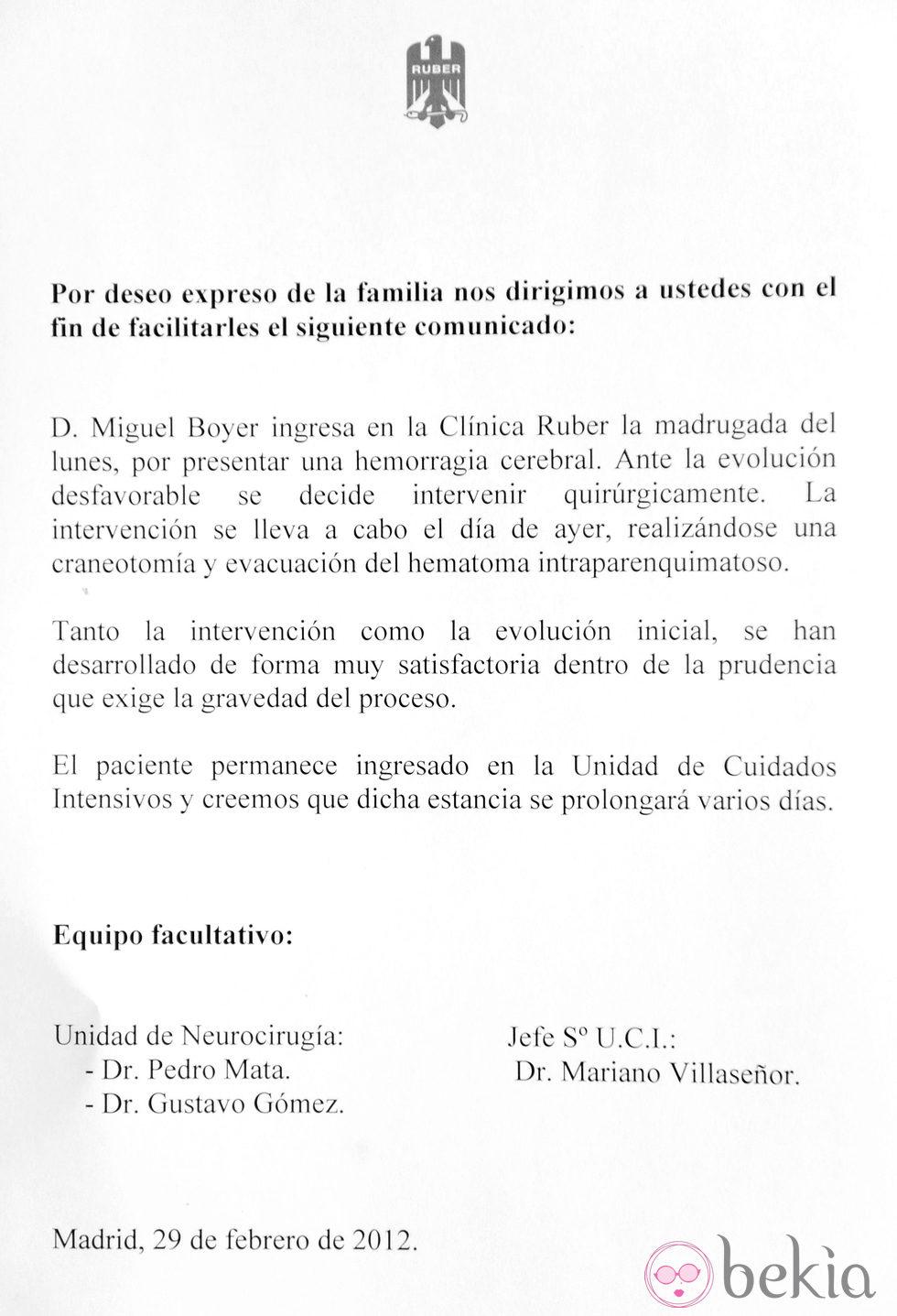 Parte M Dico Sobre El Estado De Salud De Miguel Boyer Bekia