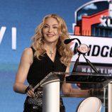 Madonna durante la rueda de prensa de la Super Bowl 2012