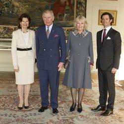Silvia de Suecia, Carlos de Inglaterra, la Duquesa de Cornualles y Carlos Felipe de Suecia