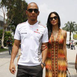 Lewis Hamilton y Nicole Scherzinger en el Gran Premio de Malasia