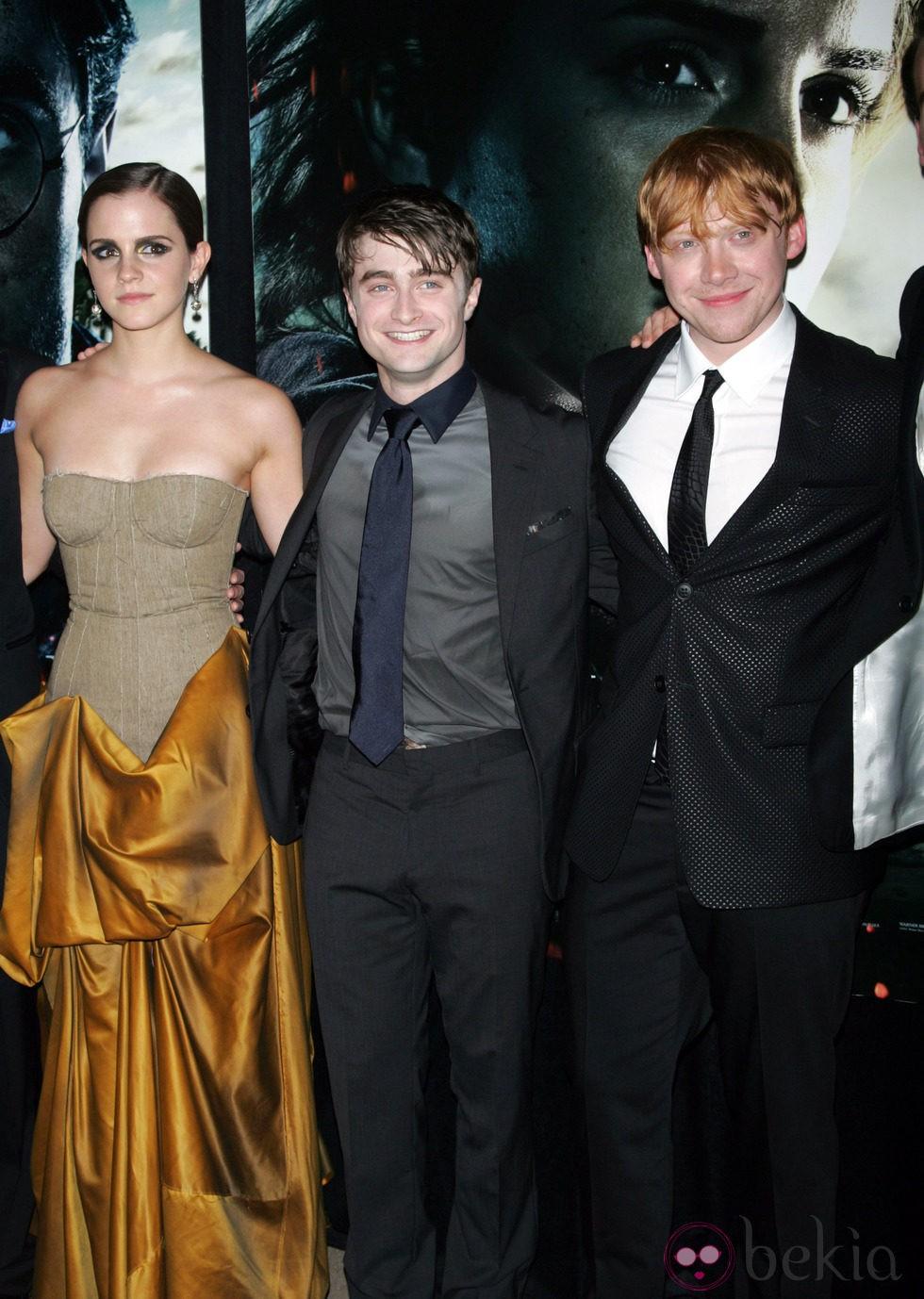 Emma Watson, Daniel Radcliffe y Rupert Grint presentan la última película de Harry Potter en Nueva York