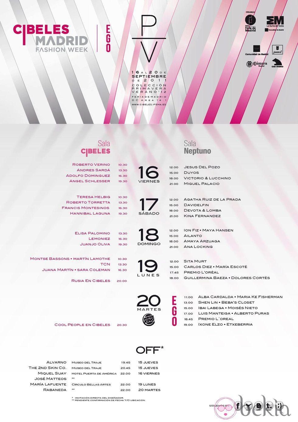 Calendario de Cibeles Madrid Fashion Week primavera/verano 2012