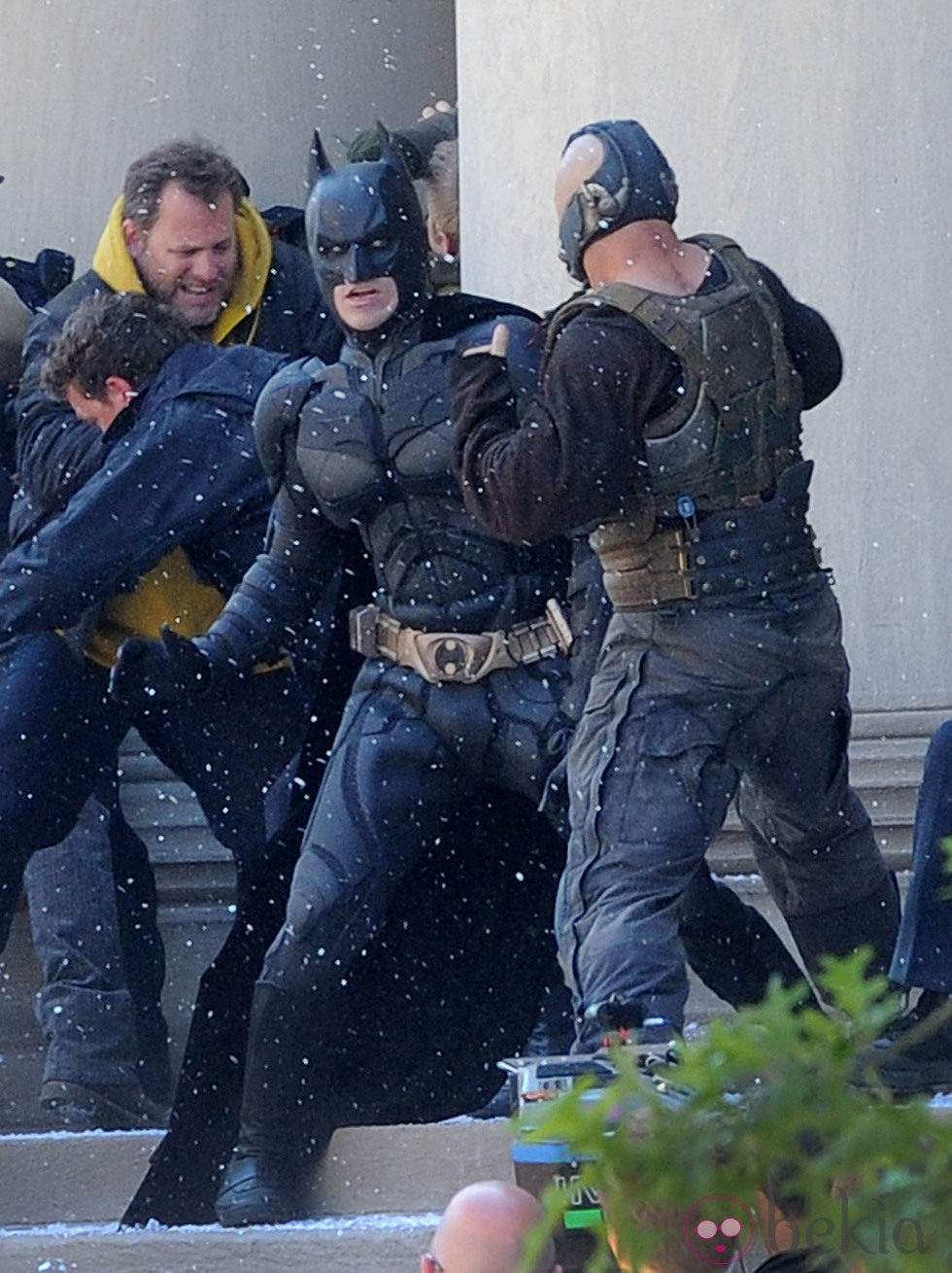 Christian Bale y Tom Hardy en el rodaje de 'The dark night rises' en Pittsburgh
