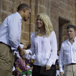Shakira en la cumbre de Cartagena con Obama
