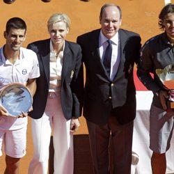 Novak Djokovic, los Príncipes de Mónaco y Rafa Nadal en el Masters 1.000 de Montecarlo
