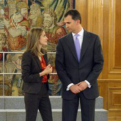 Los Príncipes Felipe y Letizia reciben audiencias en Zarzuela