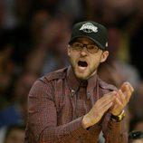Justin Timberlake apoyando al equipo de 'Los Angeles Lakers'