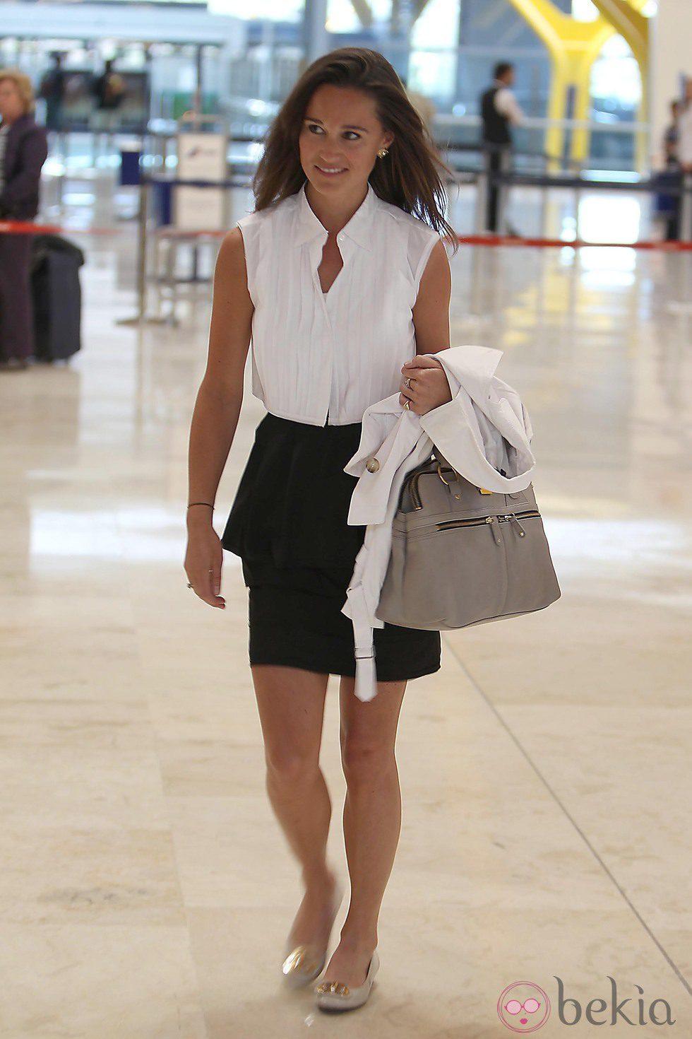 Pippa Middleton en el aeropuerto de Madrid