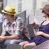 Olivia Molina y Sergio Mur presumen de embarazo en el Masters de Madrid