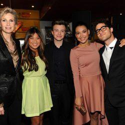 Jane Lynch, Jenna Ushkowitz, Chris Colfer, Naya Rivera y Darren Criss en los Upfronts de Fox 2012