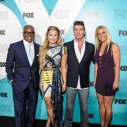 L. A. Reid, Demi Lovato, Simon Cowell y Britney Spears en los Upfronts de Fox 2012 El nuevo jurado de 'The X Factor' posa frente a los medios en los Upfron