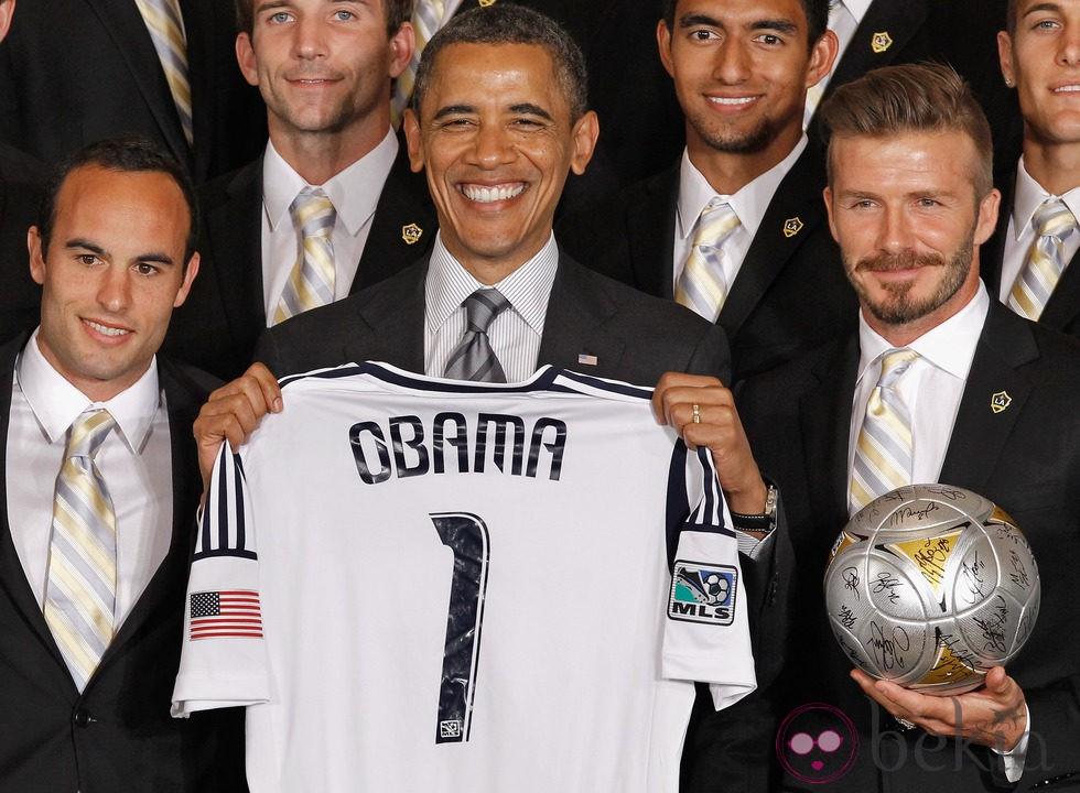Barack Obama y David Beckham en la recepción a los Angeles Galaxy
