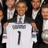 Barack Obama y David Beckham en la recepción a los Angeles Galaxy